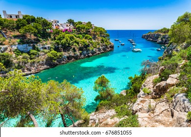 Spain Balearic Islands, idyllic bay Cala Pi on Majorca island, Mediterranean Sea.