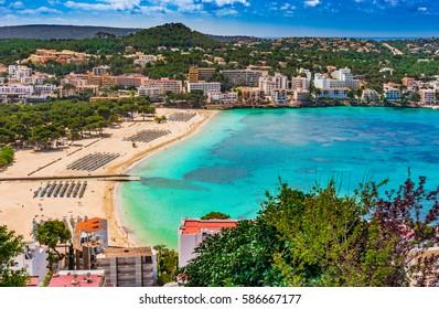 Spain Balearic Islands, view of the beach in Santa Ponsa, seaside Majorca, Mediterranean Sea.