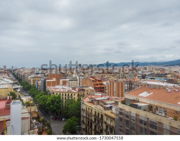 Spain, Barcelona, Aerial view of  buildings in the Eixample quarter.