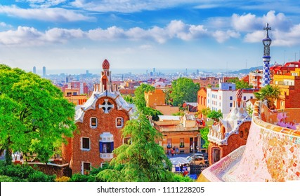 Spain, Barcelona. Fantastic view on Barcelona city over Park Guell, famous and popular landmark and travel destination in Europe.