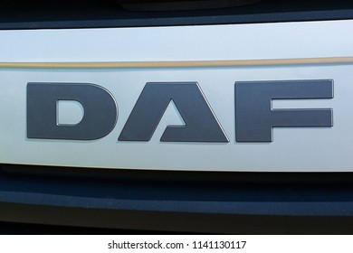 Spain, Barcelona - July 14, 2018: Logo of the Dutch automotive company DAF  on the front panel of the radiator screen