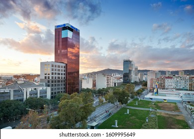 SPAIN, BARCELONA - OCT 22, 2019: Joan Miro Park, Plaza de Espana (Spain square), Barcelona, Spain