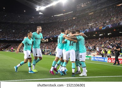 Spain, Barcelona, october 2 2019: fc Inter players celebrate the 1-0 goal at 3' by Lautaro Martinez during football match FC BARCELONA vs FC INTER, Champions League 2019/2020 day2, Camp Nou stadium