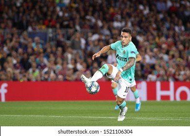 Spain, Barcelona, october 2 2019: Lautaro Martinez, fc Inter striker, ball control in the penalty area during football match FC BARCELONA vs FC INTER, Champions League 2019/2020 day2, Camp Nou stadium