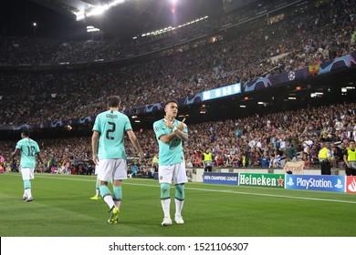 Spain, Barcelona, october 2 2019: Lautaro Martinez, fc Inter striker, celebrates the 1-0 goal at 3' during football match FC BARCELONA vs FC INTER, Champions League 2019/2020 day2, Camp Nou stadium
