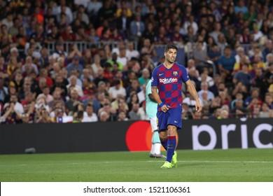 Spain, Barcelona, october 2 2019: Luis Suarez, fc Barcelona striker, waiting for a goalkeeper-throw during football match FC BARCELONA vs FC INTER, Champions League 2019/2020 day2, Camp Nou stadium