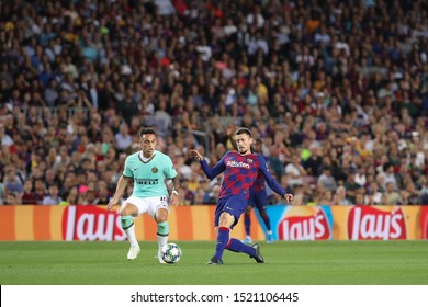 Spain, Barcelona, october 2 2019: Clement Lenglet, fc Barcelona defender, back pass shot in first half during football match FC BARCELONA vs FC INTER, Champions League 2019/2020 day2, Camp Nou stadium