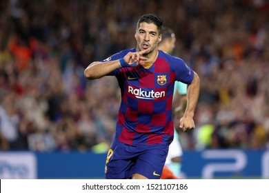 Spain, Barcelona, october 2 2019: Luis Suarez, fc Barcelona striker, celebrates the 2-1 goal at 84' during football match FC BARCELONA vs FC INTER, Champions League 2019/2020 day2, Camp Nou stadium