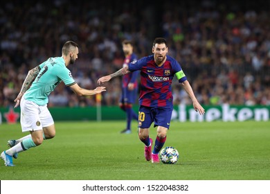 Spain, Barcelona, october 2 2019: Lionel Messi, fc Barcelona forward, dribbles in frontcourt during football match FC BARCELONA vs FC INTER, Champions League 2019/2020 day2, Camp Nou stadium