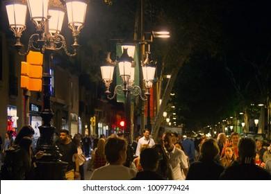 Spain, Barcelona - October 8, 2017: Rambla. Canaletes Rambla,  Rambla Capuchins, Rambla St Monica citys attractions, fly-by-night, crowd, hot spot in city