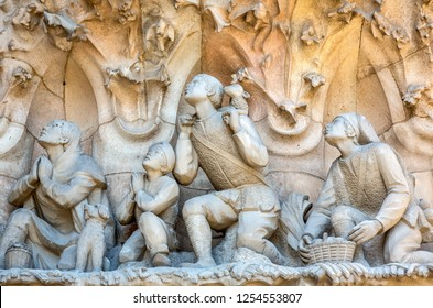 Spain, Barcelona, the sculptures of the facade of La Sagrada Familia Cathedral