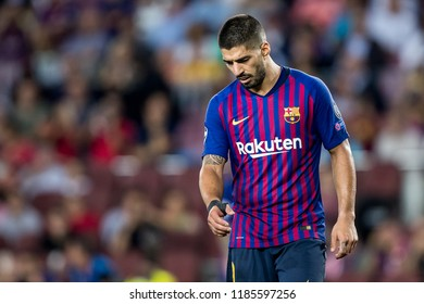 SPAIN, BARCELONA - September 18 2018: Luis Suarez disappointed and unhappy During the FC Barcelona - PSV Champions League Match