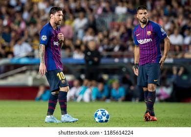 SPAIN, BARCELONA - September 18 2018: Luis Suarez (r) and Lionel Messi (l) during FC Barcelona - PSV