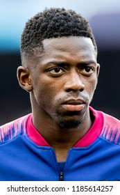 SPAIN, BARCELONA - September 18 2018: Ousmane Dembele portrait head-shot During the line-up before FC Barcelona - PSV