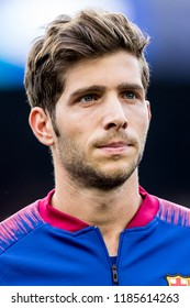 SPAIN, BARCELONA - September 18 2018: Sergi Roberto portrait head-shot During the line-up before FC Barcelona - PSV