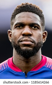 SPAIN, BARCELONA - September 18 2018: Samuel Umtiti portrait head-shot During the line-up before FC Barcelona - PSV