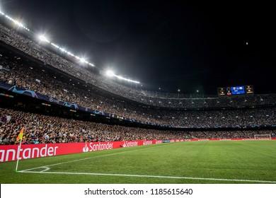 SPAIN, BARCELONA - September 18 2018: Overview of a full Camp Nou stadium during FC Barcelona - PSV