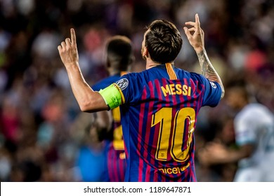 SPAIN, BARCELONA - September 18 2018: Lionel Messi celebrates and thanks god During the FC Barcelona - PSV Champions League Match