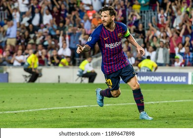 SPAIN, BARCELONA - September 18 2018: Lionel Messi celebrates he's goal but points towards man of the assist During FC Barcelona - PSV