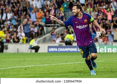 SPAIN, BARCELONA - September 18 2018: Lionel Messi celebrates he's goal but points towards man of the assist During FC Barcelona - PSV