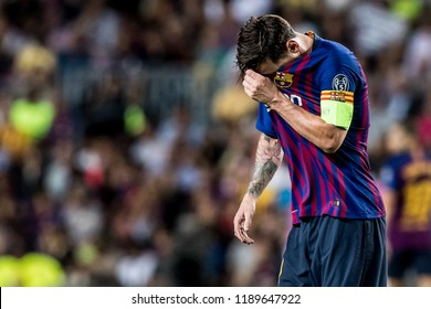 SPAIN, BARCELONA - September 18 2018: Lionel Messi disappointed During the FC Barcelona - PSV Champions League Match