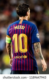 SPAIN, BARCELONA - September 18 2018: Lionel Messi shirt on the back with number 10 During the FC Barcelona - PSV Champions League Match