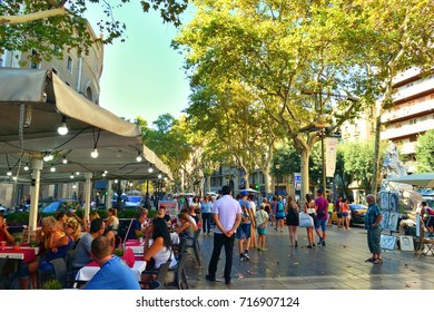 Spain, Barcelona September 5, 2017 tourists on the Rambla of Barcelona where on 17.8.2017 there was a terrorist attack with 13 victims