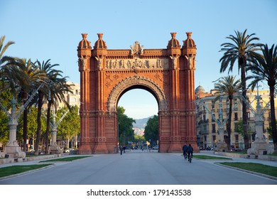 Spain, Barcelona streets - Triumph Arch in the morning, spring time April 2013