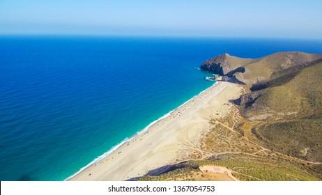 Spain. Beach of Los Muertos. Cabo de Gata. Almeria, Andalusia. Drone Photo