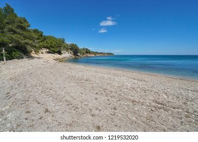 Spain beach on the Costa Dorada, Platja de l'Aliga, Mediterranean sea, Catalonia, L'Ametlla de Mar, Tarragona