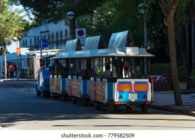 Spain, Blanes - 09/20/2012: Tourist train on the city street
