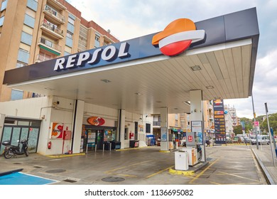 SPAIN, Calella - SEPTEMBER 15, 2016: Gas station for cars in Calella, Spain.