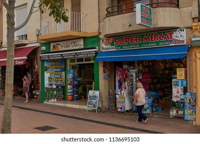 SPAIN, Calella - SEPTEMBER 15, 2016: Small shops on the roadside in Calella, Spain.