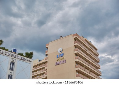 SPAIN, Calella - SEPTEMBER 15, 2016: View of the four- stars hotel  in cloudy weather in Calella, Spain.