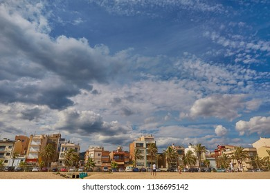 SPAIN, Calella - SEPTEMBER 15, 2016: Residential houses in the first coastline on a sunny afternoon in Calella, Spain.