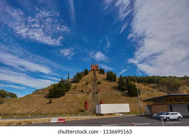 SPAIN, Calella - SEPTEMBER 15, 2016: A staircase that leads to the structure on top of a hill in Calella, Spain.