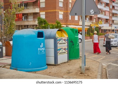 SPAIN, Calella - SEPTEMBER 15, 2016: The garbage cans for sorting waste near the roadway to Calella, Spain.