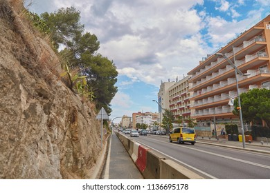 SPAIN, Calella - SEPTEMBER 15, 2016: View of the city highway from a slope in the afternoon in Calella, Spain.