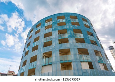 SPAIN, Calella - SEPTEMBER 15, 2016: A view from below on a modern high-rise building in Calella, Spain.