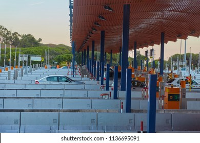 SPAIN, Calella - SEPTEMBER 16, 2016: Checkpoint on the toll road in Calella, Spain.