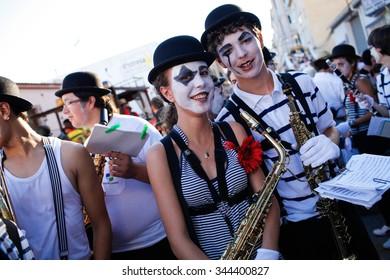 Spain Calpe 2015 Year august 03 . Spanish fiesta in Calpe Costa blanca .costumed street parade