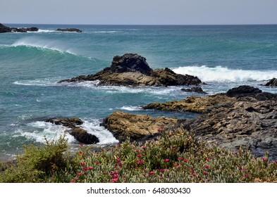 Spain, Canary Island, Fuerteventura, coast and waves in El Puerte de Los Molinos,