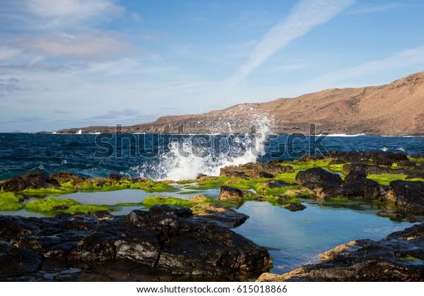 Spain Canary Islands Lanzarote Landscape Ocean colors