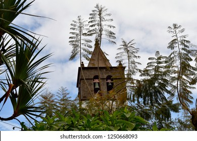 Spain, Canary Islands, Tenerife, bell tower of church San Marcos in Icos de los Vinos