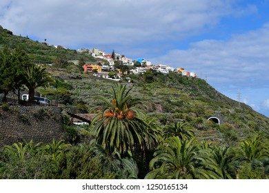 Spain, Canary Islands, Tenerife, homes built in the hillside near Icod de los Vinos