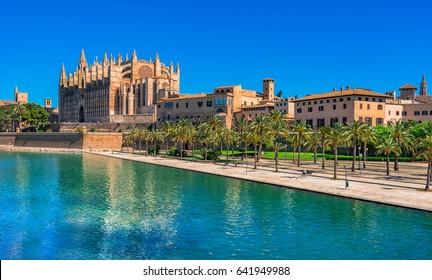 Spain Cathedral La Seu of Palma de Mallorca historic city center.