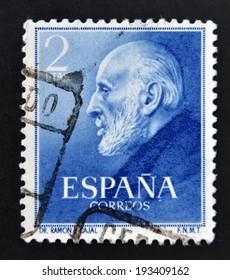 SPAIN - CIRCA 1952: A stamp printed in Spain shows Nobel Award Santiago Ramon y Cajal, circa 1952