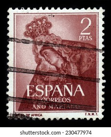 Spain - CIRCA 1954: A stamp printed in Spain, shows image of Our Lady of Africa, Tenerife, Series Maria Year,circa 1954