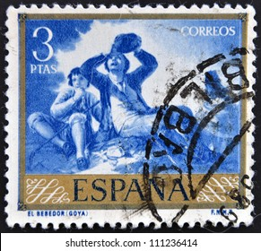 SPAIN - CIRCA 1958: A stamp printed in Spain shows paintings The Drinker by Francisco de Goya, circa 1958