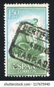 SPAIN - CIRCA 1960: stamp printed by Spain, shows Bullfighter, Corrida, circa 1960
